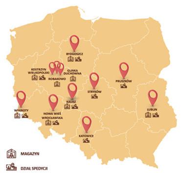 Mapa Colian Logistic lokalizacje